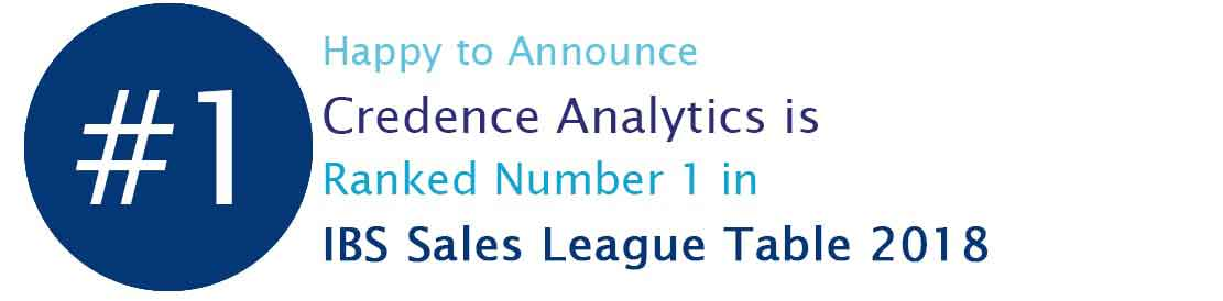 Credence Analytics is Ranked Number 1 in IBS Sales League Table 2018